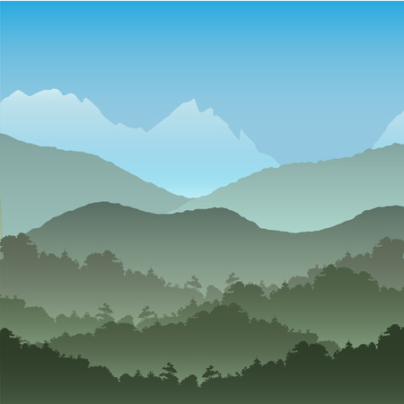 rock layer: Vector seamless background. Green Mountain landscape in the summer.