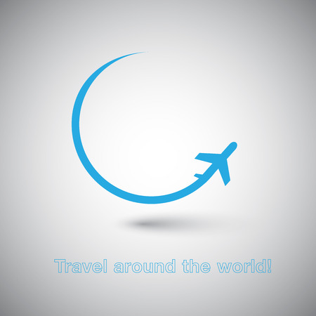 Viaje alrededor del icono del mundo Plano Foto de archivo - 35180825
