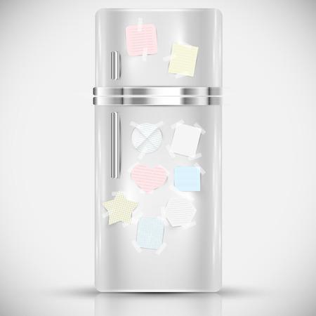 cooler boxes: Fridge with paper labels on it Illustration