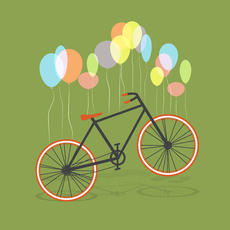 Bicycle hanging on balloons, vector Vector