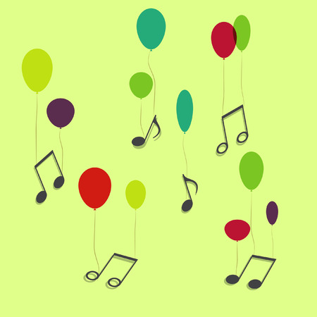 conservatory: Musical notes hanging on ballons, vector
