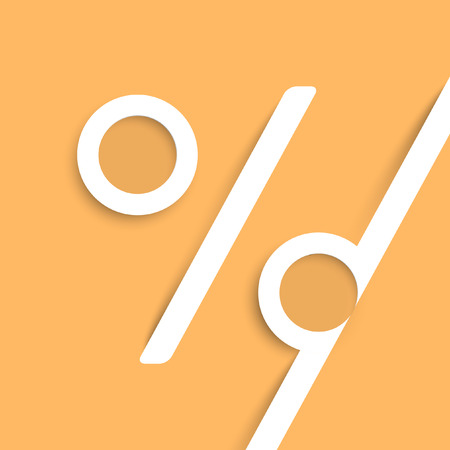 liquidation: A percent sign made by paper, vector