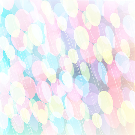 Background with multicolored flying balloons, abstract Vector