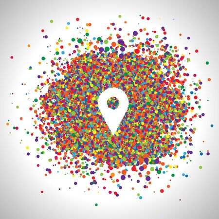 Pin made by colorful dots, vector Vector