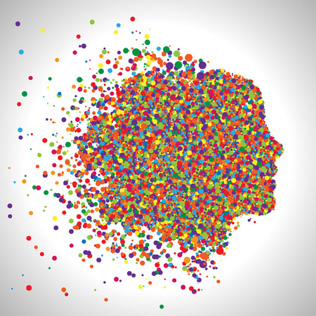 psychiatrist: Face made by colorful dots, vector