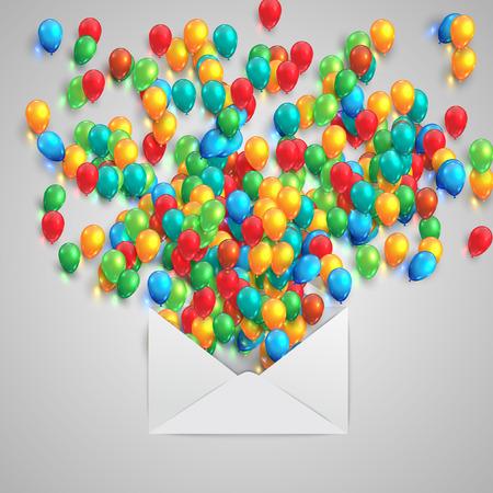 ballons: An envelope with colorful ballons, vector