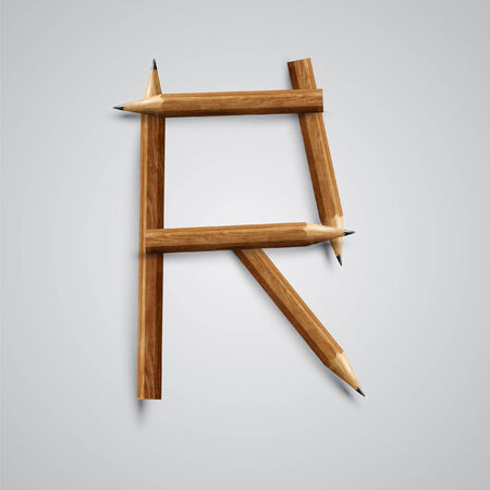 l hand: A letter made by pencil, vector Illustration