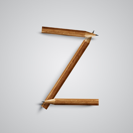A letter made by pencil, vector Vector