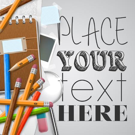 Kantoor of school voeders en items op een witte achtergrond, vector Stock Illustratie