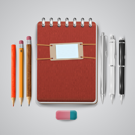 Vintage notebook with pens, pencils and eraser, vector