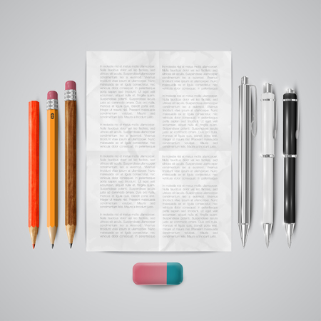 Office or school stuffs and items on white background, vector Vector