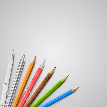 A set of pencils and pens, vector Vector