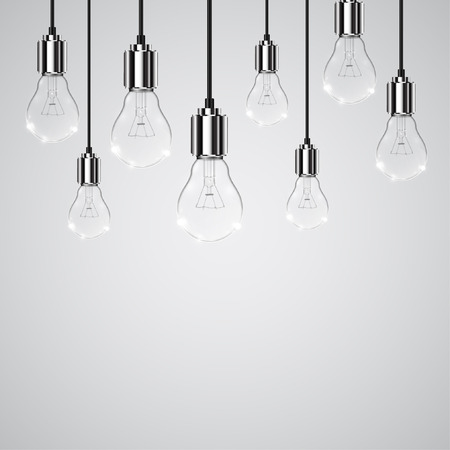 lightbulbs: Realistic vector lightbulbs hanging