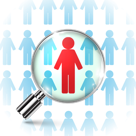 Searching job  employee with a magnifying glass Vector