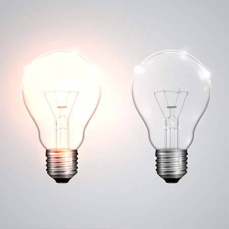 Realistic lightbulbs onoff, vector Vector