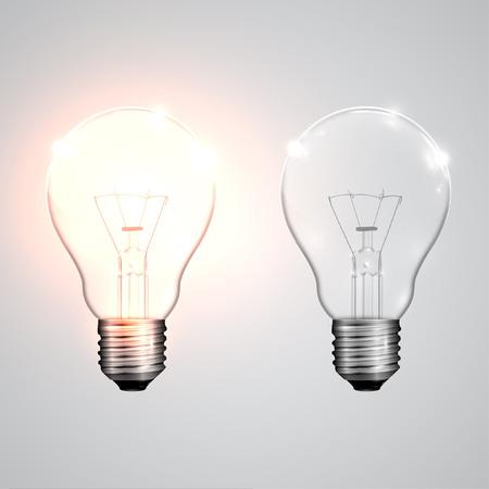 lightbulbs: Realistic lightbulbs onoff, vector