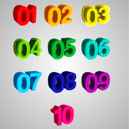 Colorful 3D numbers, vector Vector