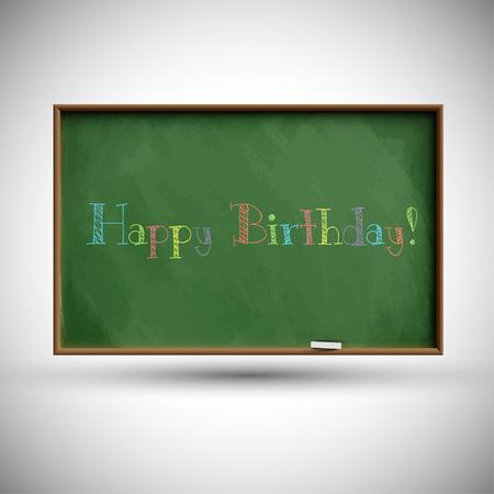 Happy birthday text on chalkboard Vector
