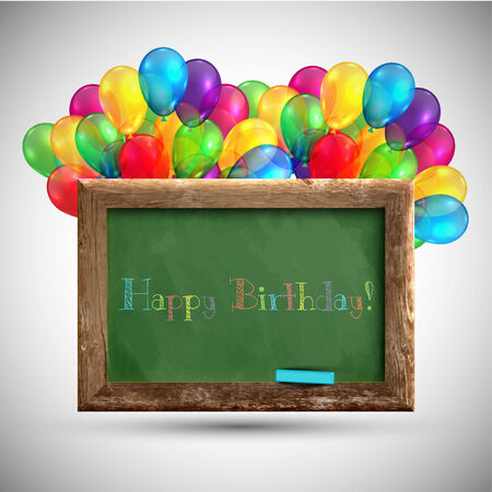 Blackboard with colorful balloons, vector Vector