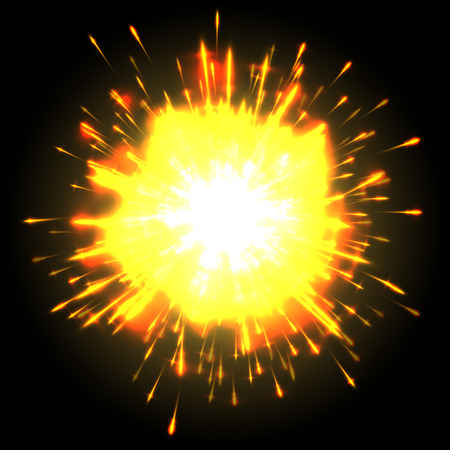 Powerful explosion on black background 向量圖像
