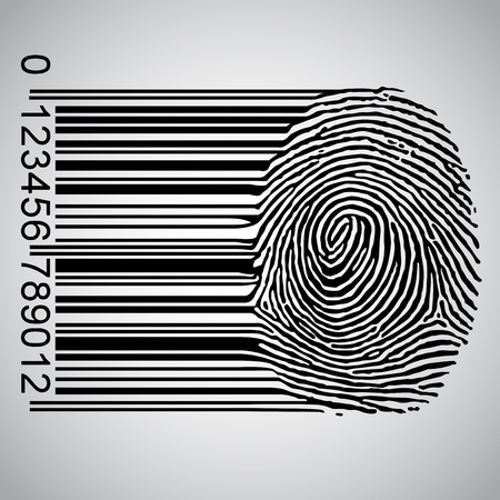 Fingerprint becoming a barcode 일러스트