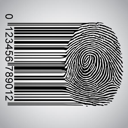 Fingerprint becoming a barcode Vector