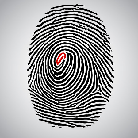 A fingerprint with a red line, vector Çizim