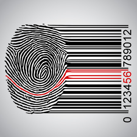 A fingerprint with a red line, vector  イラスト・ベクター素材