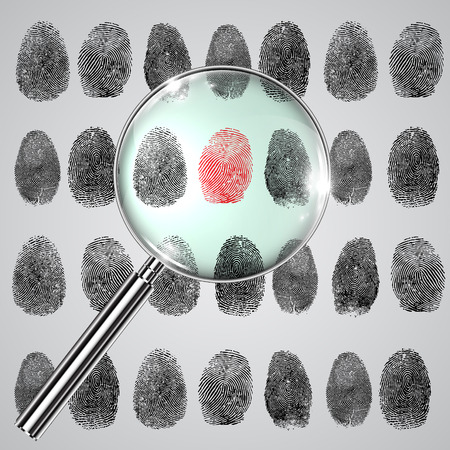 Fingerprints and a magnifier, vector 向量圖像