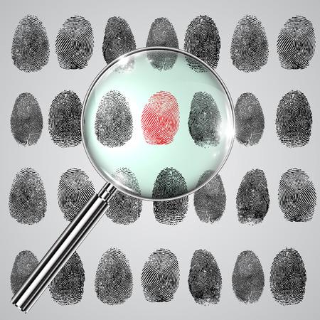 forensics: Fingerprints and a magnifier, vector Illustration