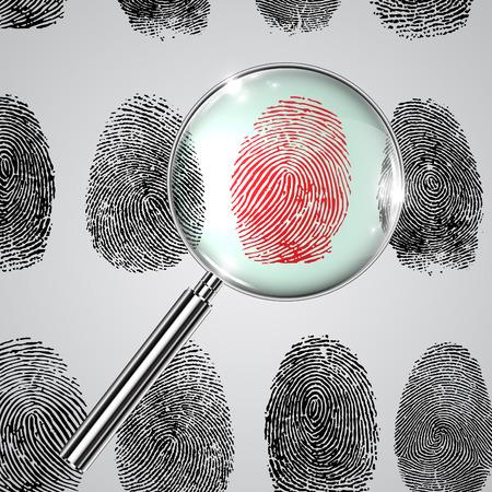Fingerprints and a magnifier, vector Иллюстрация