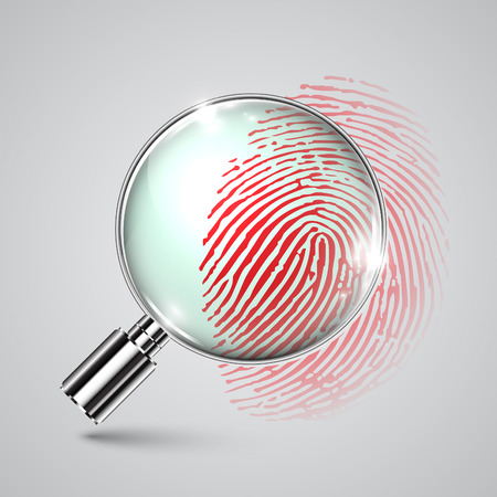 forensics: Fingerprint and a magnifier, vector Illustration