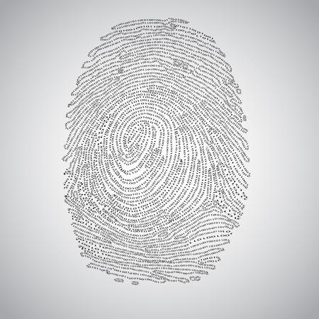 Binary fingerprint and a magnifier, vector Illustration