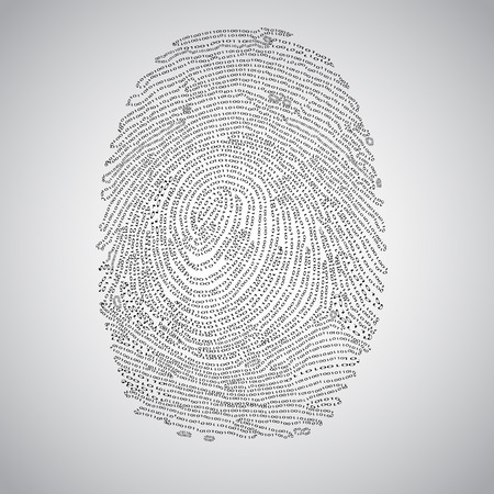 Binary fingerprint and a magnifier, vector Illustration