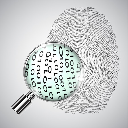 Binary fingerprint and a magnifier, vector Çizim
