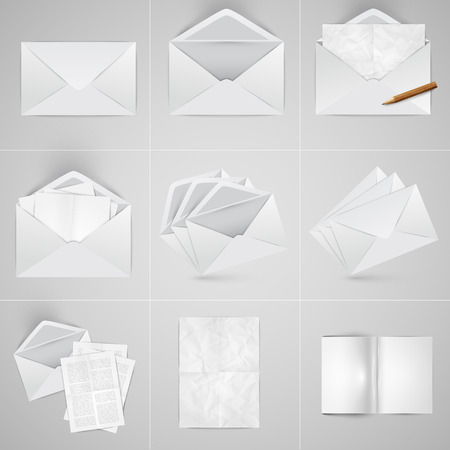 Realistic paper and envelope set, vector Vector