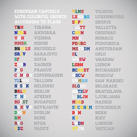 shorten: Pa�ses europeos capitales acortan los nombres con los colores nacionales, vector