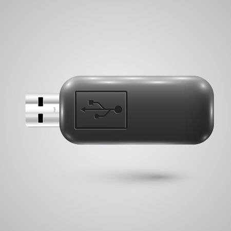 pendrive: Black realistic pendrive, vector