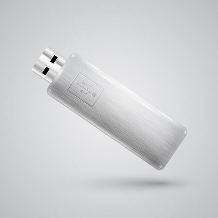 pendrive: Metal realistic pendrive, vector Illustration