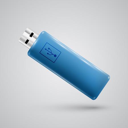 pendrive: Blue realistic pendrive, vector