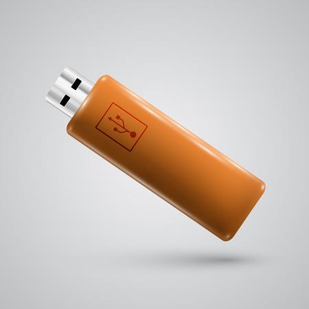 pendrive: Orange  realistic pendrive, vector