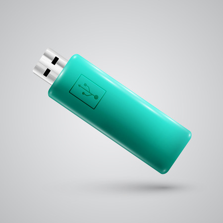 pendrive: Turquoise realistic pendrive, vector