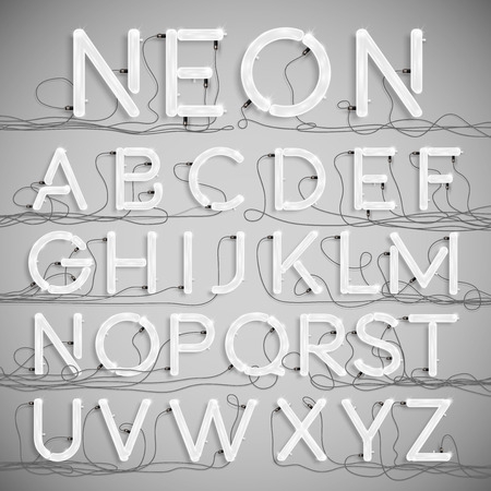Realistic neon alphabet with wires (OFF), vector Ilustração Vetorial
