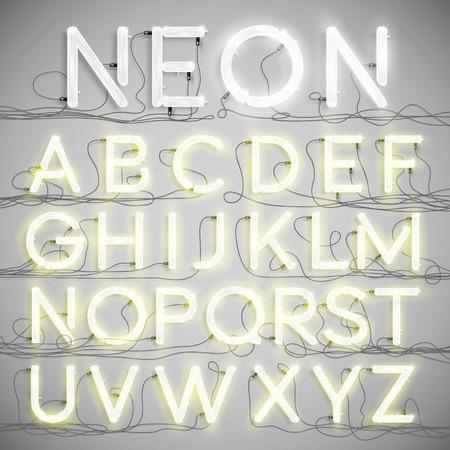 Realistische neon alfabet met draden (ON), vector Stock Illustratie