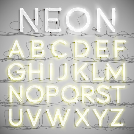 Realistic neon alphabet with wires (ON), vector Illustration
