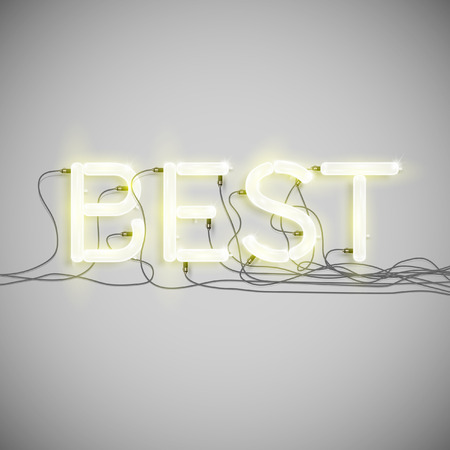 fluorescent tube: Best made by neon type, vector Illustration