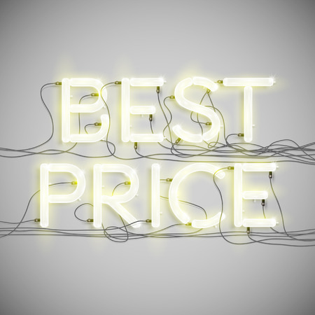 fluorescent tube: Best Price made by neon type, vector Illustration