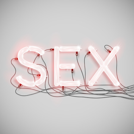 Sex made by neon type, vector Ilustracja