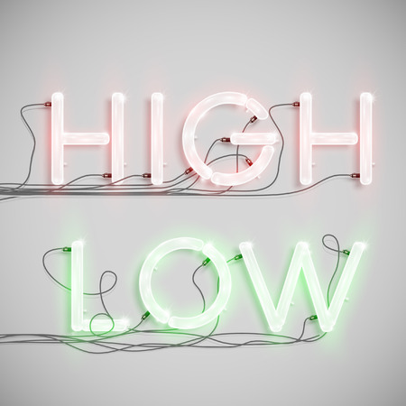 High, Low made by neon type, vector
