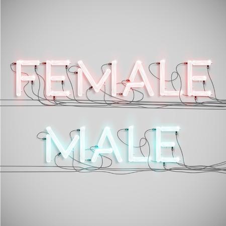 """mujer hombre: """"Mujer, Hombre"""" hecho por tipo de ne�n, vector"""